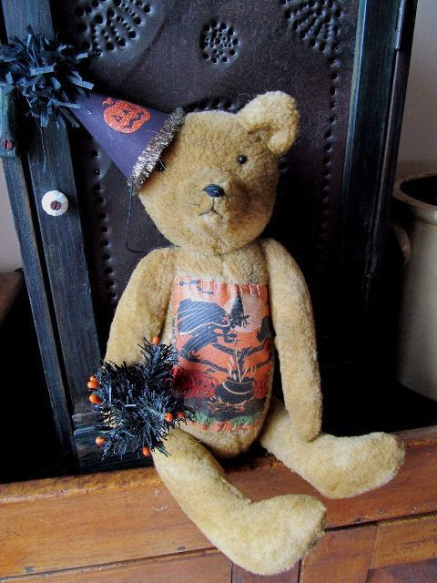 Whimsical Folk Halloween Party Teddy Home Decor Bear