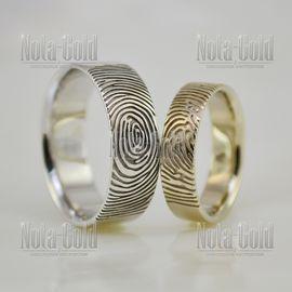 2444 Обручальные кольца из белого золота с отпечатками пальцев  (Вес пары: 12 гр.)