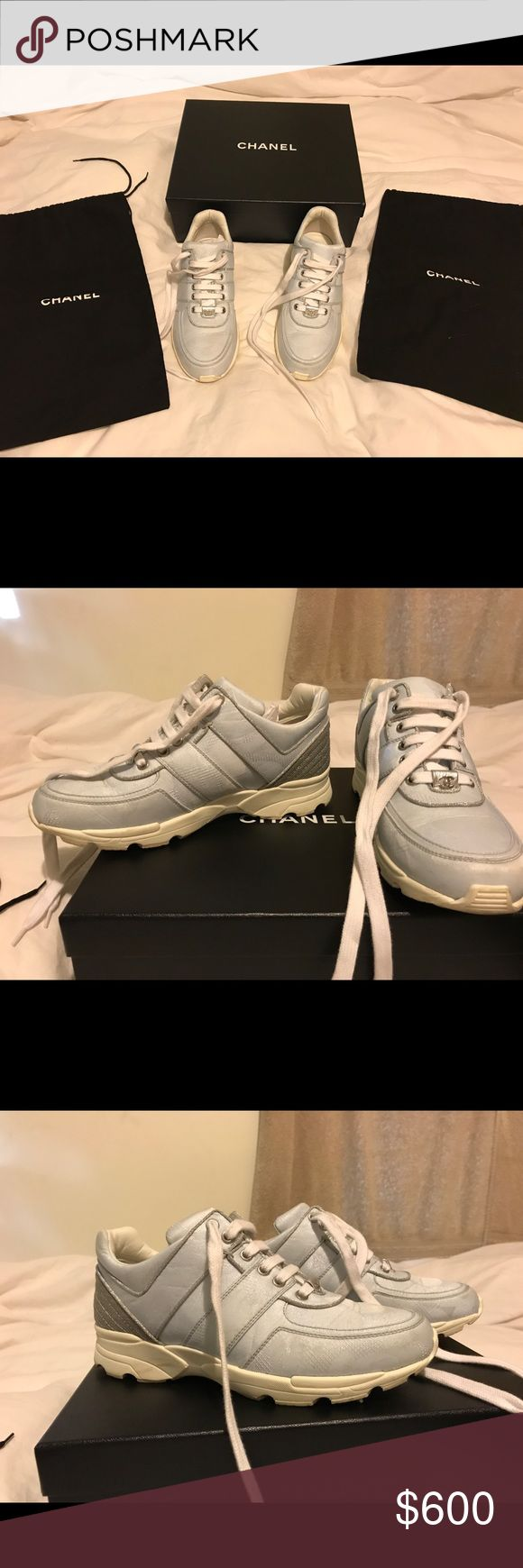Chanel Tennis Shoes Adorable authentic Chanel tennis shoes from spring/ summer 2017. Worn a couple times only. CHANEL Shoes Sneakers