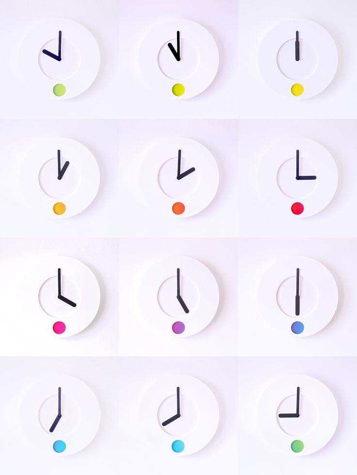 Analog timepiece that tells the time by colour, by British designer Duncan Shotton