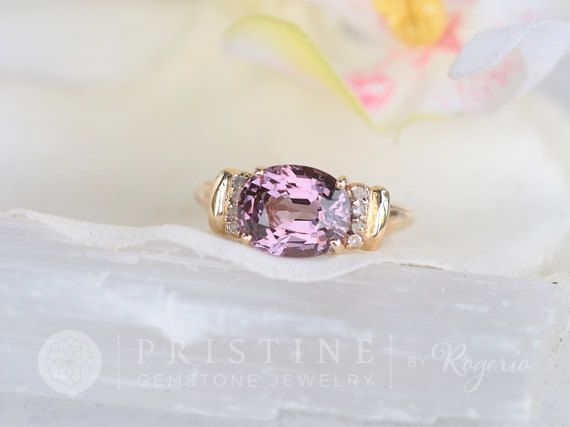 Purple Spinel Ring over 3ct in 10K Yellow Gold with Diamond