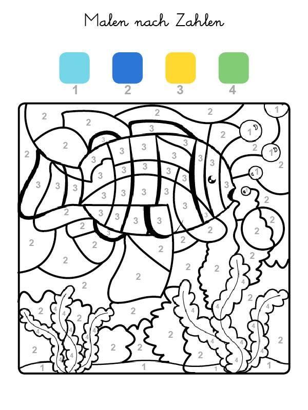 Die Felder mit der Zahl 1 werden hellblau, Felder mit der Zahl 2 dunkelblau, die mit der Zahl 3 gelb und alle mit der Zahl 4 grün ausgemalt. Wenn Ihr Kind das Motiv auf der kostenlosen Vorlage ausgemalt hat, kommt ein Fisch zum Vorschein!