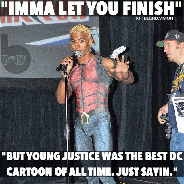 ...the dude on my left doesn't agree. Guys don't forget! If we all binge Young Justice seasons 1&2 on Netflix we may actually be able to spark interest in a season 3! Also if you haven't seen it already definitely check the series out - I highly recommend it. It's the best backdoor Justice League cartoon ever. Lol. Don't be like the dude on my left. Bring back YJ! Do it for the team! --- Also episode 6 of Blerd Vision is live: Last week we reviewed Creed discussed Zoom's badassery on the…