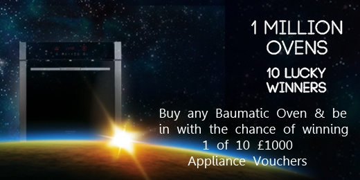 To celebrate its 1 millionth oven sale, Baumatic has launched a brand new nationwide promotion: buy any Baumatic oven and be in with the chance of winning 1 of 10 £1000 Baumatic appliance vouchers! The 10 winning ovens will be gold-wrapped. To find out where you can buy a Baumatic oven in your area, please go to http://www.baumatic.co.uk/retailer_list.html   Good luck!