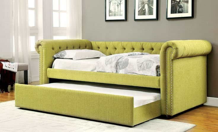 Leanna CM1027GR Transitional Lemongrass Fabric Daybed with Trundle