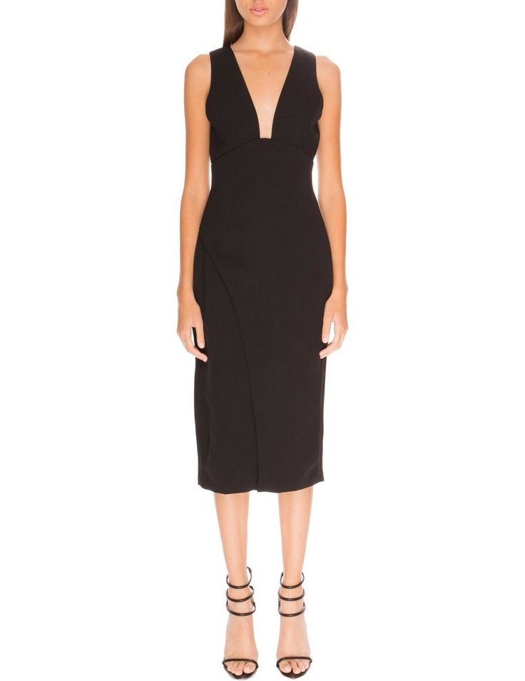 This elegant fitted midi dress is the perfect choice for any occasion. This sleeveless dress features a plunging neckline and bias cut skirt that cinches the waist for a flattering hourglass effect.