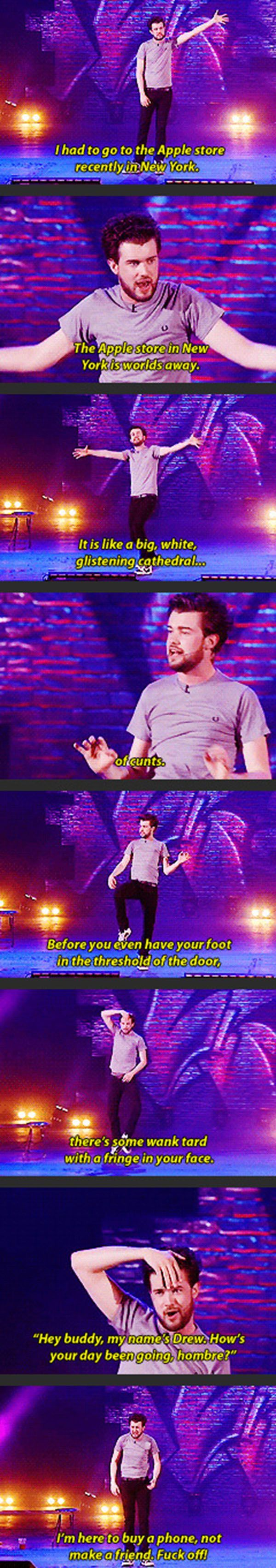 Jack Whitehall pretty much explaining how every British person feels whilst shopping