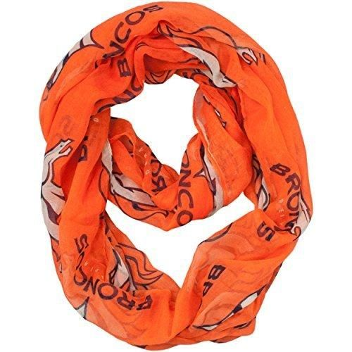 Nfl Broncos Sheer Scarf 70 X 25 Football Themed Fashion Accessory Infinity Continuous Loop Sports Patterned Team Logo Fan Athletic Team Spirit Orange Navy White Polyester