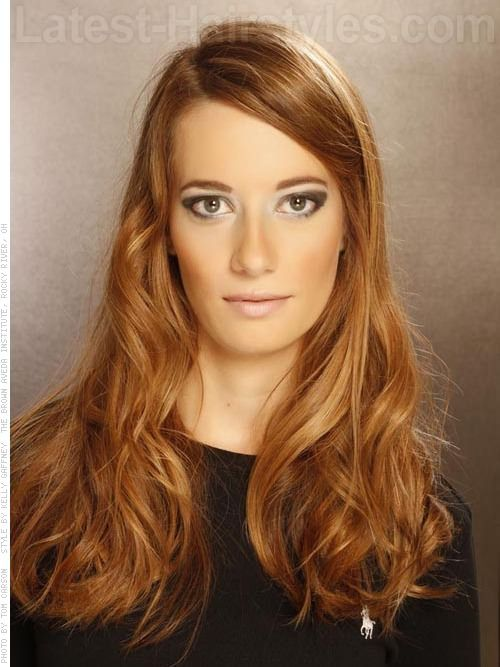Classic Reddish Long One Length Hairstyle