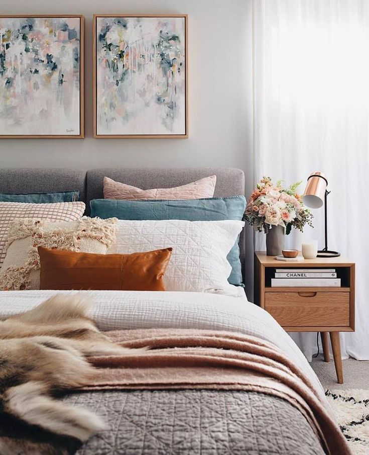 Bedroom Ideas How To Layer Beautiful Rust Colour Cushions Bedroom Abstract Wa Home Decor Bedroom Affordable Bedroom Home Bedroom