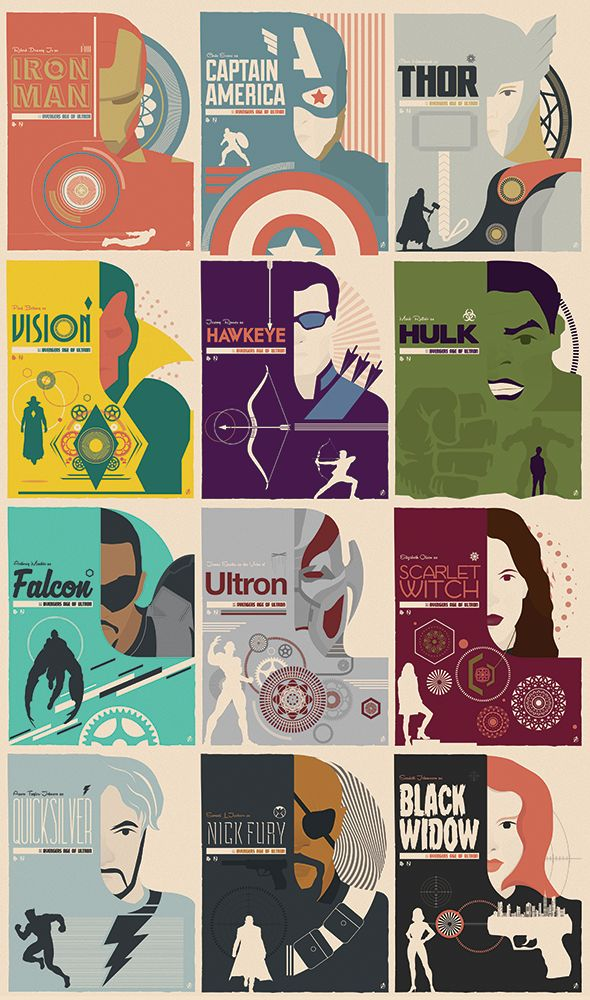 Client: Marvel / Poster Posse / Hero Complex Gallery Date: April 2015 Here are all 12 of my retro style Marvel Avengers Age Of Ultron Prints. Created for Poster Posse and part of the Officially Licensed Marvel Avengers art show at Hero Complex...