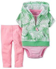 Carter's Baby Girls' 3-Pc. Leaf-Print Hoodie, Bodysuit & Leggings Set