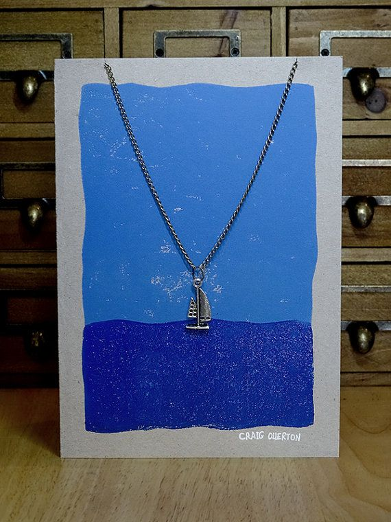 Artist Handmade Greeting Card, Lino Printed Greetings Card, Hand Printed, Nautical Necklace, Sailing Boat, Yacht Necklace Pendant Chain Card