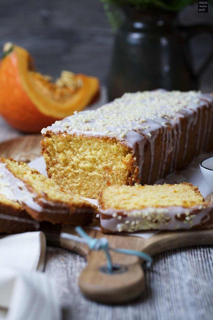 Kürbis-Honig-Kuchen mit Zuckerguss und gehackten Mandeln, Kürbiskuchen, Kastenkuchen | Fräulein Meer backt