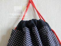 plecak- worek kropeczki  białe na granatowym tle