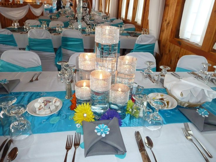 Malibu blue wedding decorations centerpiece