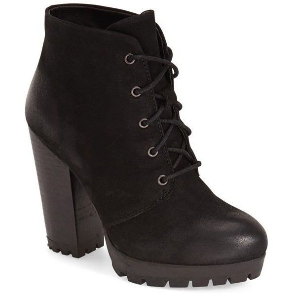 """Steve Madden 'Ricca' Bootie, 4"""" heel (210 CAD) ❤ liked on Polyvore featuring shoes, boots, ankle booties, ankle boots, black nubuck, tall lace up boots, platform ankle boots, black booties and black lace up boots"""