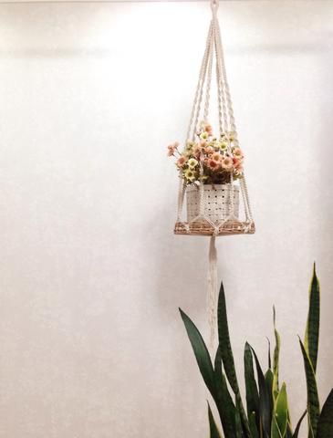 We love our macrame and basket set! Check the link for full product information. Tania Hanger with / or without Basket (macrame plant hanger). Perfect for your modern home interior, boho home and decor, or nursery decor. Check the link for full product info.