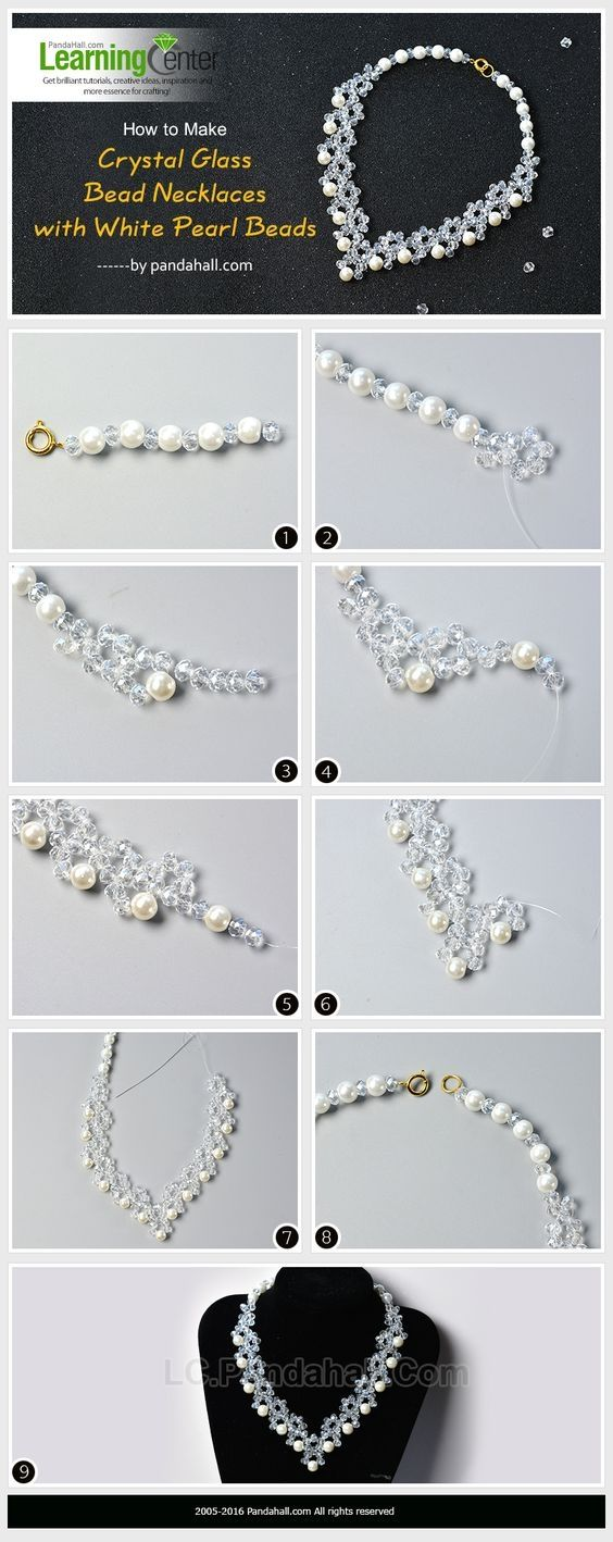 How to Make Crystal Glass Bead Necklaces with White Pearl Beads from LC.Pandahall.com | Jewelry Making Tutorials & Tips 2 | Pinterest by Jersica
