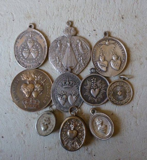 antique sacred heart medal collection