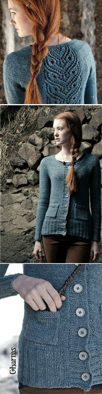 """Ginny's OWL Cardigan, by Mari Chiba from """"The Unofficial Harry Potter Knits"""" 2013 Interweave Magazine; also now published in the """"Knitting Wizardry"""" book."""