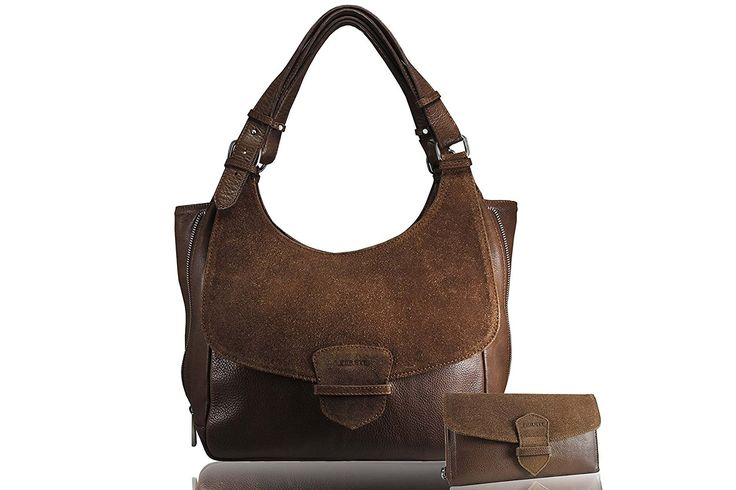 FERETI Borse pelle con portafoglio corrispondente di camoscio marrone cognac da donna vera pelle: Amazon.it: Valigeria