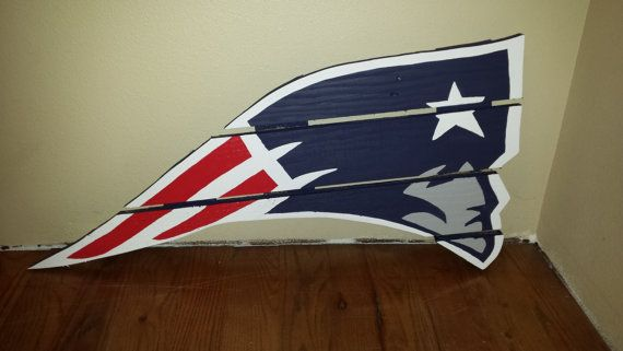 New England Patriots sign made from recycled pallets, hand painted