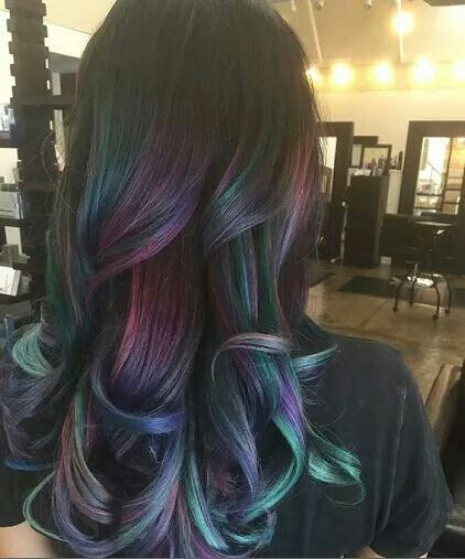 Another pinner wrote: Oil Slick Hair. Just for the record, people, I naturally have extremely dark brunette hair.