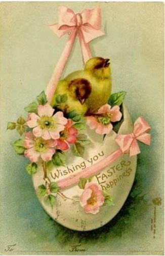 vintage Easter card - chicks in egg with pink ribbon and flowers.                                                                                                                                                                                 More