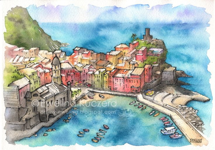 #cinqueterre #italy #illustration #art #watercolor #watercolorpencils #ink #fineliners #sketch #urbansketch #summer #vacation #sea #colorful #red #blue #turquoise #sky #water #ewelinakuczera #architecture #houses #buildings #fabercastell #albrechtdurerpencils