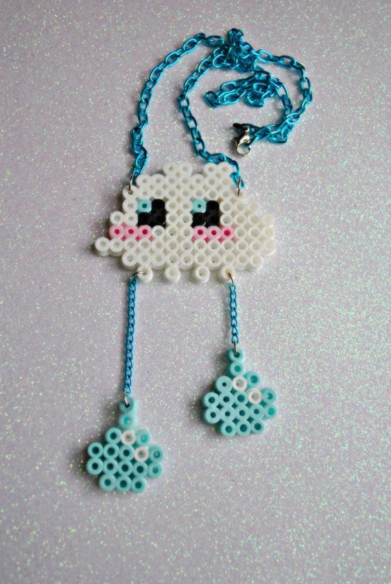 Cute Rain Cloud perler bead Necklace