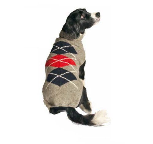 Chilly Dog Grey Classic Argyle Dog Sweater Medium