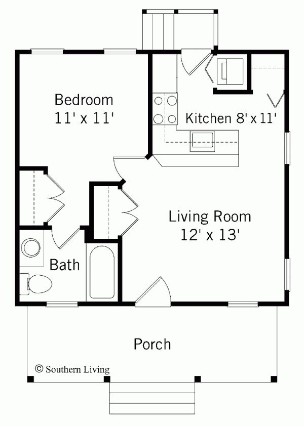 1 bedroom house plans - Small Home Plans