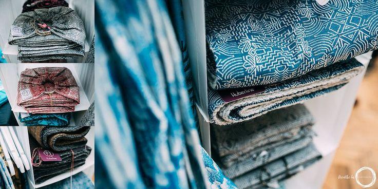 Hubertine display of wraps, slings and scarves at UK Wrap Show in 2017. #hubertine #babywearing #wovenwraps #wrapshow