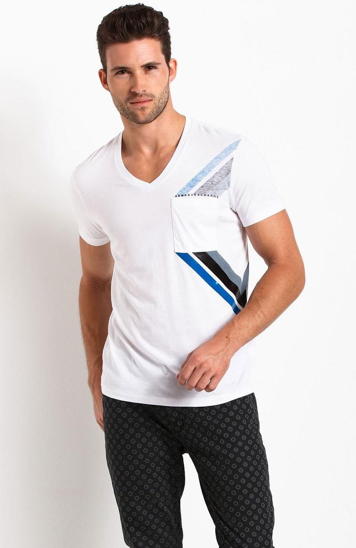 Chevron Stripe Pocket Tee - New Arrivals - Mens - Armani Exchange #fashion
