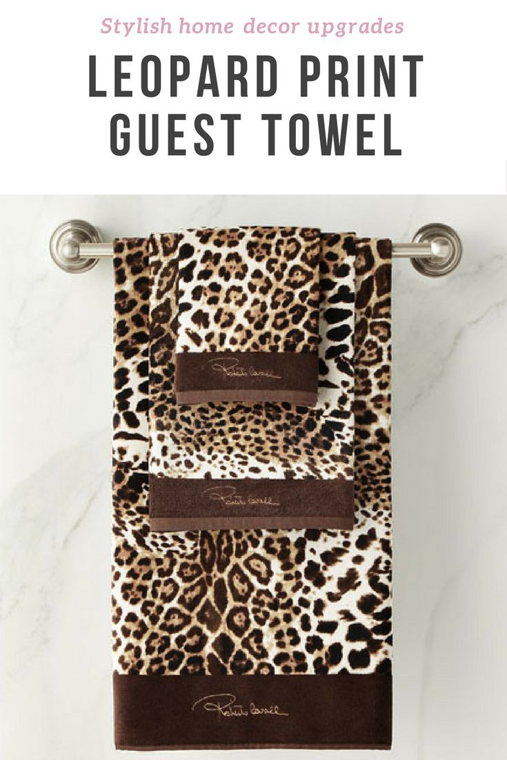 Roberto Cavalli Leopard Print Animal Hand Towels Guest Bathroom Brown Home Decor Affiliate