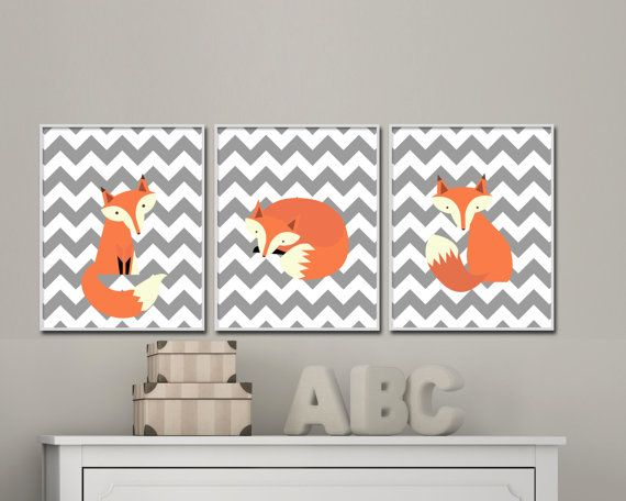 Fox nursery art prints. Fox wall art for Childrens Bedroom. Woodland Nursery art. Gray chevron art print- S-406  This listing is for 3 art prints only - frame not included.  These prints are professionally printed on high quality heavyweight matte paper with archival inks. Please be aware that color variations may occur due to the differences in computer monitors.  IF YOU WOULD LIKE TO CUSTOMIZE YOUR PRINTS: When checking out, please leave a message in the  Note to Seller section. If you are…