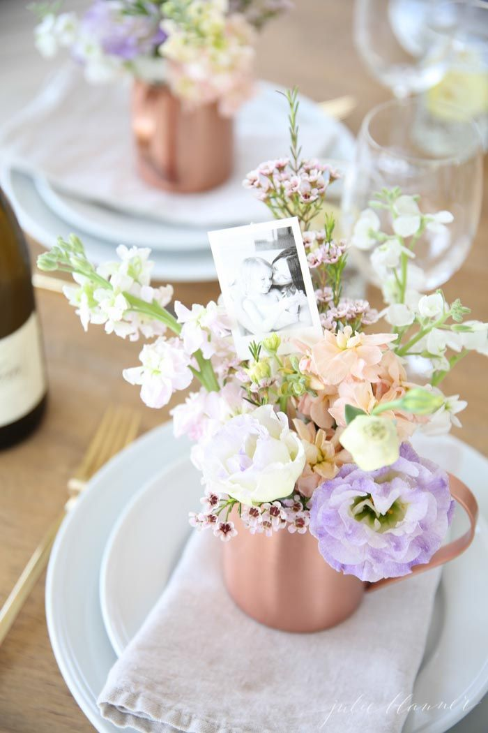 Simple Mother's Day Table Setting Idea that doubles as place cards & triples as favors!