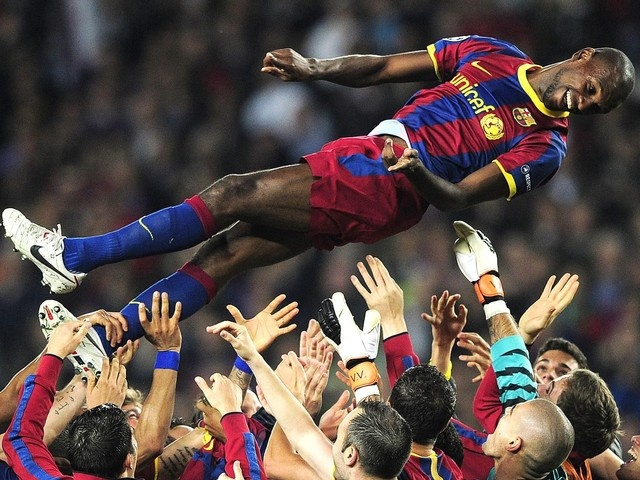 """I would like to dedicate this victory to Eric Abidal and his cousin, Gerard (the donor liver),"" Barcelona coach Josep Guardiola said after the match. As the game progresses, Abidal was undergoing liver transplantation."