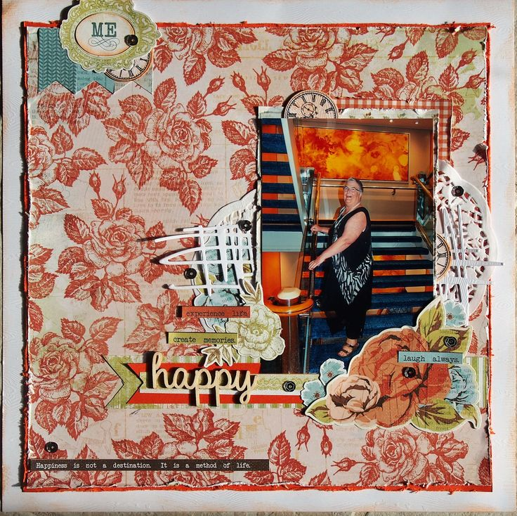 This layout uses Kaisercraft Marigold Collection and Kaisercraft Clockface die/stamp.