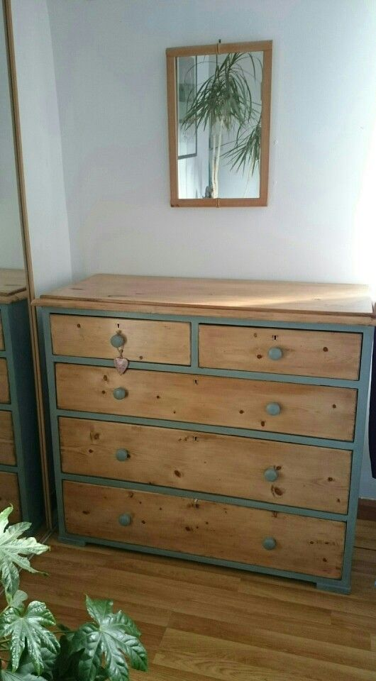 Antique Pine chest of drawers.  Several layers of painted removed, drawer runners fixed. New handles added, chalk painted & waxed.
