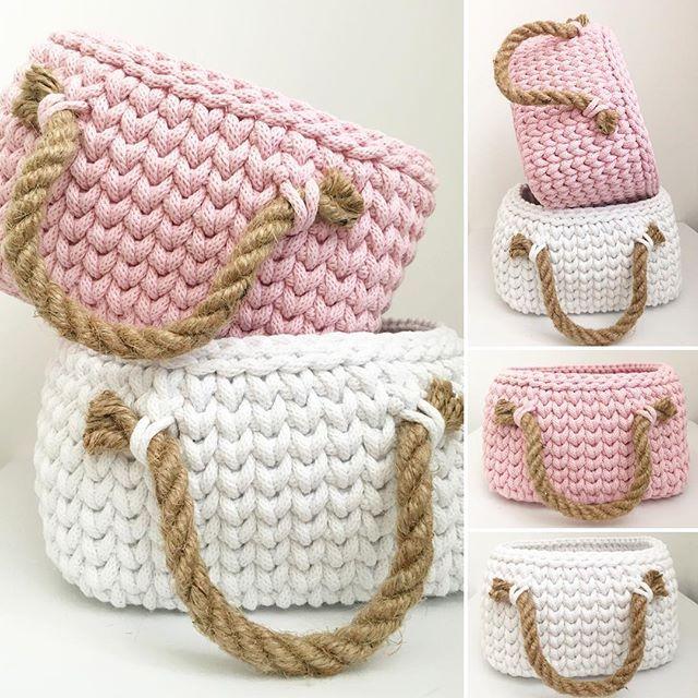 marshmellow colours #crochetbasket شنطه كروشيه بخيط التي شيرت او الكليم T shirt yarn crochet bage