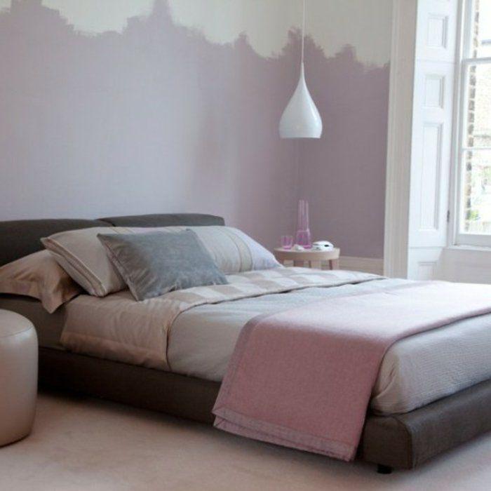 chambre rose et gris peinture mur rose et blanc lit gris tapis blanc