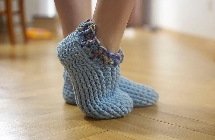light blue crocheted adult slippers