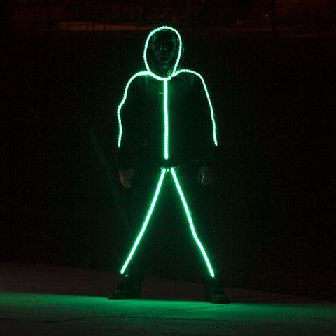 LED Stick Figure Costume Glow With Shock and Awe -  #costume #illusion #LED