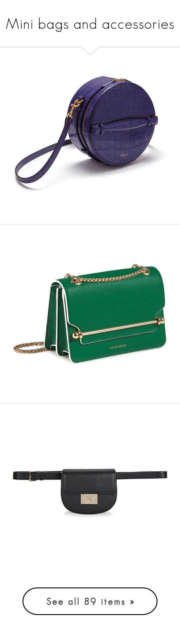 """""""Mini bags and accessories"""" by idetached ❤ liked on Polyvore featuring bags, luggage, handbags, leather cross body handbags, green leather handbag, mini cross body purse, genuine leather handbags, leather handbags, kate spade and leather strap belt"""