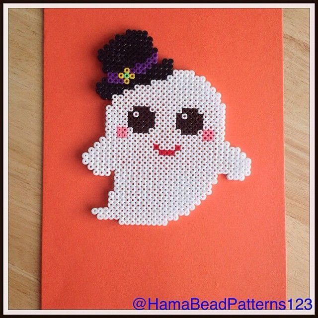 Hama Bead Kawaii Ghost by HamaBeadPatterns123