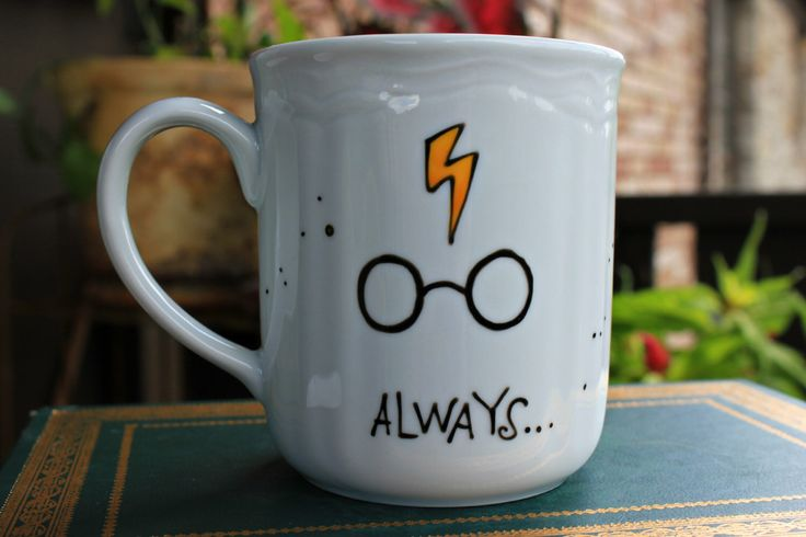 Made to Order Always Mug - Small or Med/Lg, WHITE mug painted with your choice of colors - Harry Potter, Owl, Lightning Bolt, Glasses by OpheliasGypsyCaravan on Etsy https://www.etsy.com/ca/listing/192206255/made-to-order-always-mug-small-or-medlg