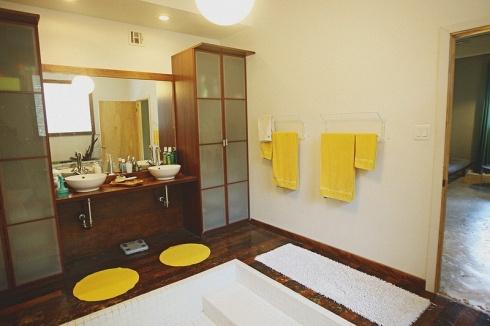 mid century modern 70s bathroom with sunken shower | brady