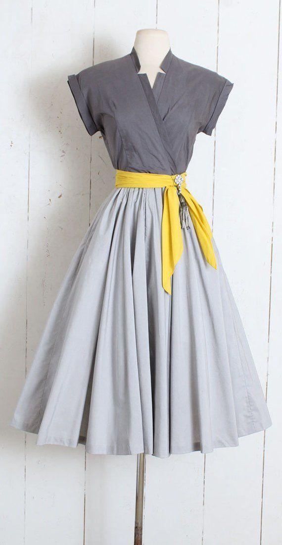 Vintage 1950s Dress vintage 50s Marion McCoy grey yellow | Etsy – Maya – #1950s …